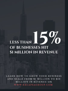 Less than 15% of businesses hit $1 million in revenue learn how to grow your business and scale from $1 million to $10 million in revenue ExCapsa Group